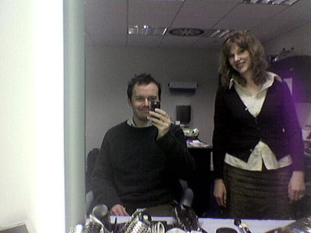 Tom Coates in make-up at Sky News